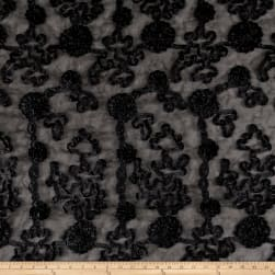 Embroidered Luxury Ribbon Organza Black Fabric