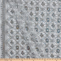 Coco Star Sequin Double Border Lace Silver Fabric