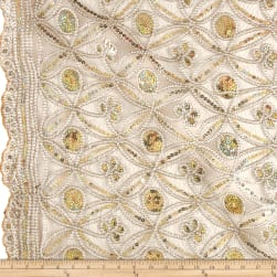 Coco Star Sequin Double Border Lace Champagne Fabric