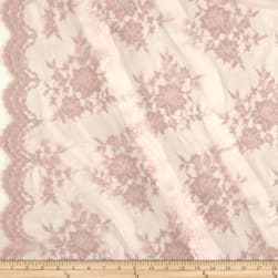 Chantilly Lace Double Border Taupe Fabric