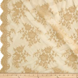 Chantilly Lace Double Border Gold Fabric
