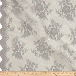 Chantilly Lace Double Border Silver Fabric