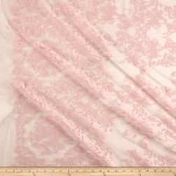 Bridal Floral Embroidered Mesh Blush Pink Fabric