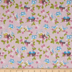 Lewis & Irene So Darling! Bluebirds Rose Fabric