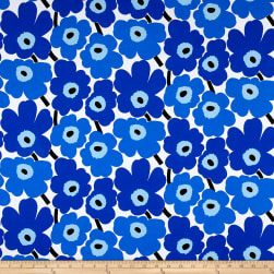 Marimekko Mini Unikko Cotton Blue Fabric