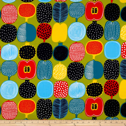Marimekko Kompotti Cotton Green-Multi Fabric