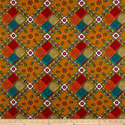 Supreme Fancy African Print 6 Yards Tan/Multi Fabric