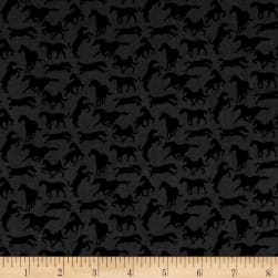 Thoroughbreds Silhouette Black Fabric