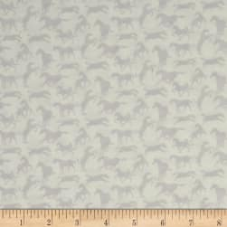Thoroughbreds Silhouette White Fabric