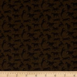 Thoroughbreds Silhouette Brown Fabric