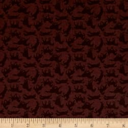 Thoroughbreds Silhouette Burnt Sienna Fabric