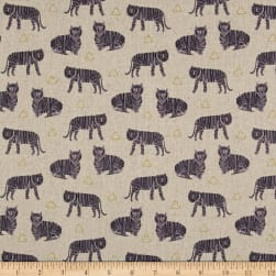 Tiger Plant Tigers Greige Linen Fabric