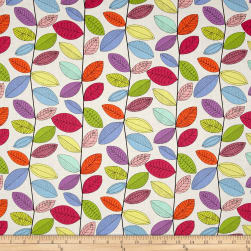 Uptown Rainbow Vines White Fabric