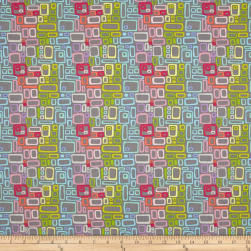 Uptown Rainbow Rectangles Grey Fabric