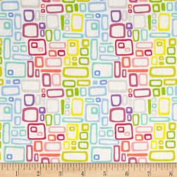Uptown Rainbow Rectangles White Fabric