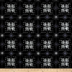 Java Garden Batiks Mums Black Fabric