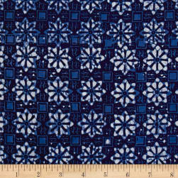 Java Garden Batiks Floral Tile Blue Fabric