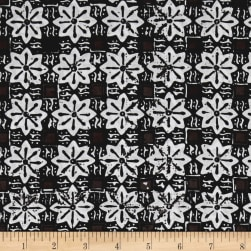 Java Garden Batiks Floral Tile Black Fabric