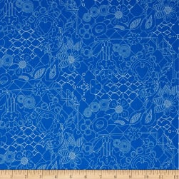 Sun Print Overgrown Bluebonnet Teal Fabric