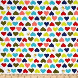 Susybee Hearts & Bees Multi Fabric