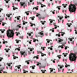 Susybee Lal The Lamb Allover Sheep Pink Fabric