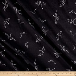 Telio Pebble Crepe Print Bird Black Ecru Fabric