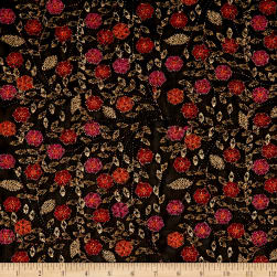 Telio Agra Mesh Embroidery Floral Fuchsia Orange/Black Fabric
