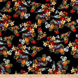 Telio Dali Rayon Poplin Tropical Black Fabric