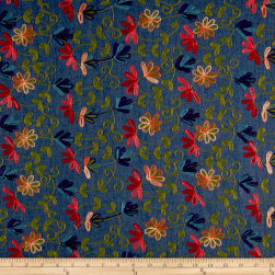 Telio Floral Embroidered Chambray Medium Blue Fabric