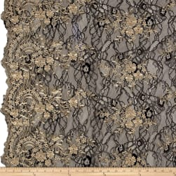 Telio Glamour Lace Embroidery Black/Gold Fabric