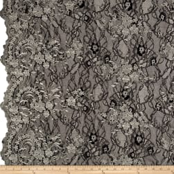 Telio Glamour Lace Embroidered Black/Silver Fabric