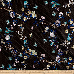 Telio Swiss Dot Embroidery Branch Butterfly Black/Blue Fabric