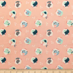 Cluck Moo Oink Animals Peach Fabric
