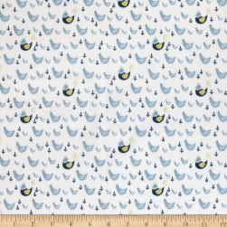 Cluck Moo Oink Chickens Blue Fabric