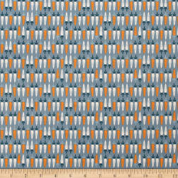 Cluck Moo Oink Carrots Blue Fabric