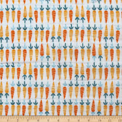 Cluck Moo Oink Carrots Double Gauze White Fabric