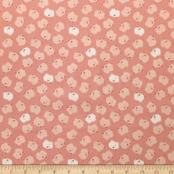 Cluck Moo Oink Pigs Pink Chai Fabric