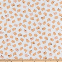 Cluck Moo Oink Pigs White Fabric