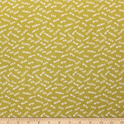Cluck Moo Oink Sounds Yellow Fabric