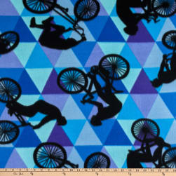 Polar Fleece Bicycle Blue Fabric