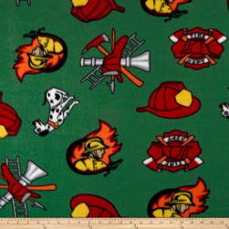 Polar Fleece Fire Fighter Green Fabric
