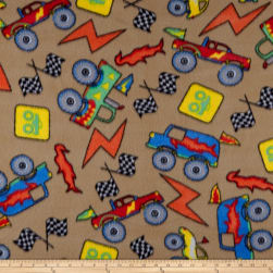 Polar Fleece Monster Trucks Tan Fabric