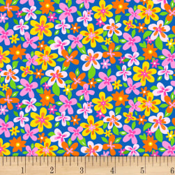 Tutti Fruitti Plisse Packed Flowers Blue Fabric