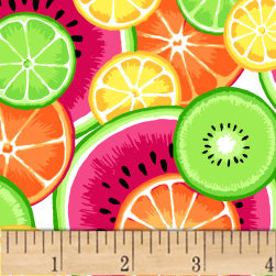 Tutti Fruitti Plisse Main Fruit Slices Multi Fabric