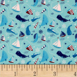 Ahoy Matey The Ocean Light Blue Fabric