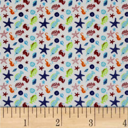 Ahoy Matey Sea Creatures White Fabric