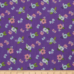 I Believe in Unicorns Flowers Orchid Fabric