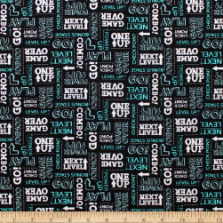 Game On Words Black Fabric