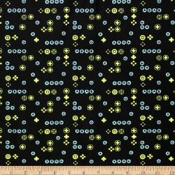 Game On Buttons Black Fabric