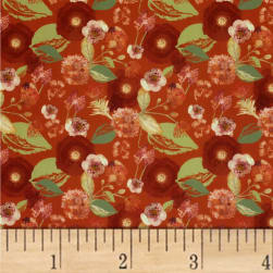 Mulberry Bloom Mixed Floral Digital Red Fabric